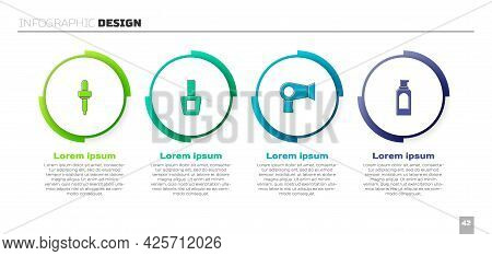 Set Pipette, Nail Polish Bottle, Hair Dryer And Spray Can For Hairspray. Business Infographic Templa