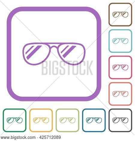 Glasses With Glosses Simple Icons In Color Rounded Square Frames On White Background