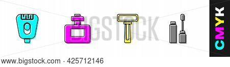 Set Epilator, Perfume, Shaving Razor And Mascara Brush Icon. Vector
