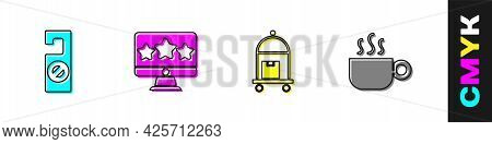 Set Please Do Not Disturb, Five Stars Rating Review, Suitcase And Coffee Cup Icon. Vector