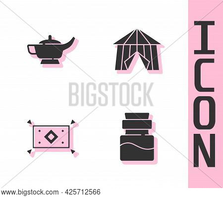Set Bottle With Potion, Magic Lamp Or Aladdin, Carpet And Circus Tent Icon. Vector
