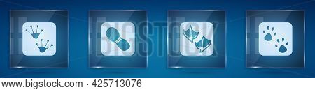 Set Frog Paw Footprint, Human Footprints Shoes, Seagull And Paw. Square Glass Panels. Vector