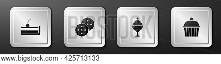 Set Cherry Cheesecake, Cookie Or Biscuit, Ice Cream In Bowl And Cake Icon. Silver Square Button. Vec