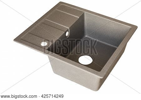 Gray Granite Sink For The Kitchen Isolated On White Background