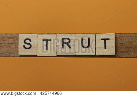 Gray Word Strut Made Of Wooden Square Letters On Brown Background