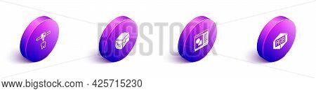 Set Isometric 3d Printer Tooth, Isometric Cube, Software And Rgb And Cmyk Color Mixing Icon. Vector
