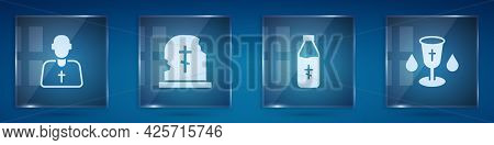 Set Priest, Grave With Tombstone, Holy Water Bottle And Christian Chalice. Square Glass Panels. Vect
