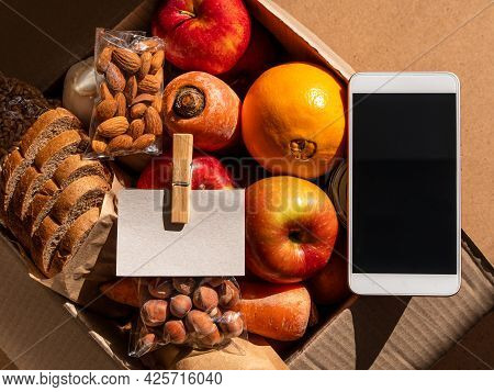 Healthy Food Delivery Smartphone Touchscreen Mockup Business Card Template.take Away Product Package