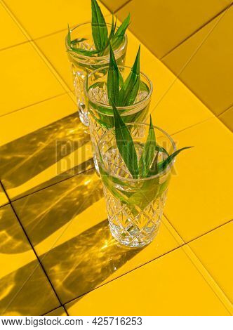 Refreshing Summer Drinks In Crystal Glasses With Green Leaves Yellow Tile Background Harsh Shadows C