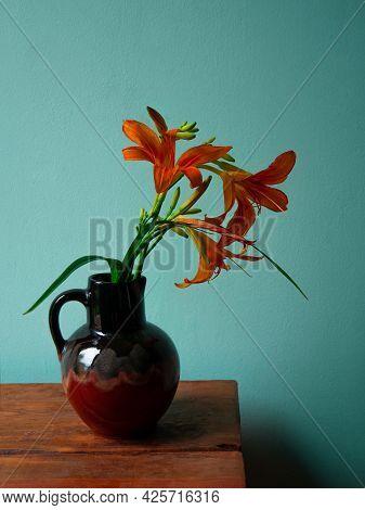 Tiger Lily In Ceramic Vase With Shadow Turquoise Wall Background Lilium Lancifolium Orange Flowers C