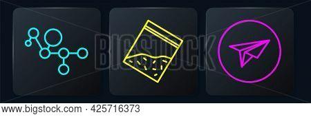 Set Line Cannabis Molecule, Messenger And Plastic Bag Of Drug. Black Square Button. Vector