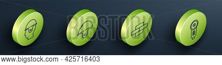 Set Isometric Worker Safety Helmet, Worker Safety Helmet, Bricks And Angle Grinder Icon. Vector