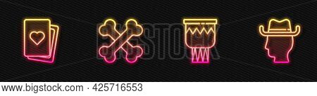 Set Line Drum, Deck Of Playing Cards, Crossed Human Bones And Cowboy. Glowing Neon Icon. Vector