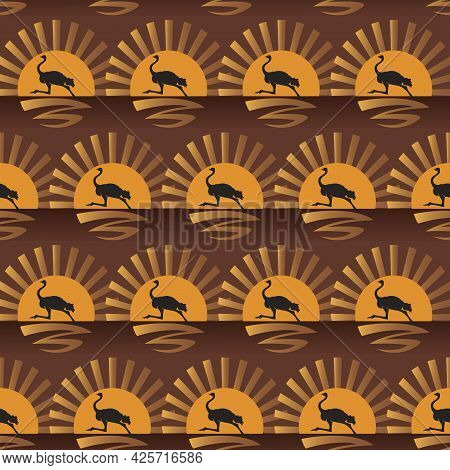 Running Ostrich. Silhouette Against The Setting Sun. Vector Seamless Background Of Ostriches.