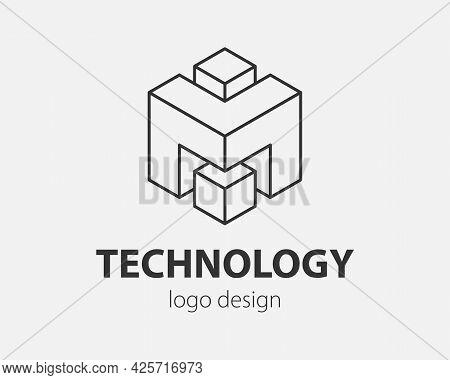 Technology Logo Line Design. Logotype For Digital Company.