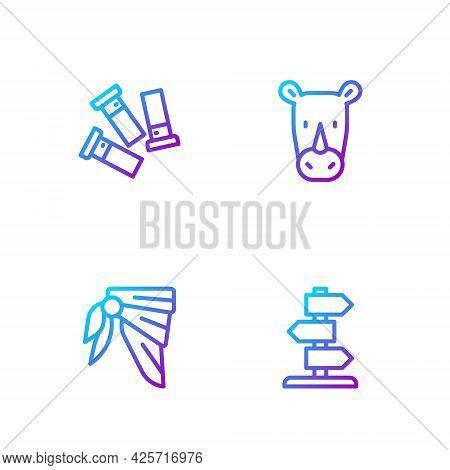 Set Line Road Traffic Sign, Bandana Or Biker Scarf, Cartridges And Rhinoceros. Gradient Color Icons.