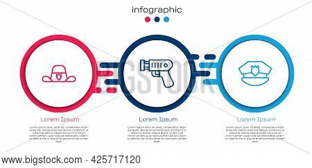 Set Line Sheriff Hat With Badge, Police Electric Shocker And Cap Cockade. Business Infographic Templ