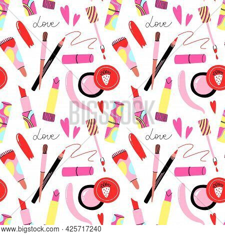 Lips Cosmetic Seamless Pattern. Cartoon Hand Drawn Lipstick And Gloss, Pencil And Brush. Bright Abst