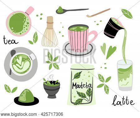 Matcha Set. Hand Drawn Traditional Japanese Drink, Powder And Spoon, Bamboo Whisk And Cup With Latte