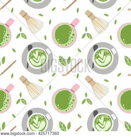 Matcha Seamless Pattern. Hand Drawn Traditional Japanese Drink, Cup With Latte, Chinese Green Tea, T