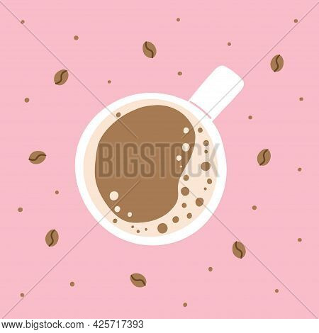 Coffee Top View. Hand Drawn Traditional Morning Breakfast Drink, Cup With Latte Or Cappuccino Top Vi