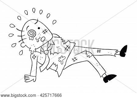Cartoon Boss Man Beaten, Vector Illustration. Black Outlined And White Colored.