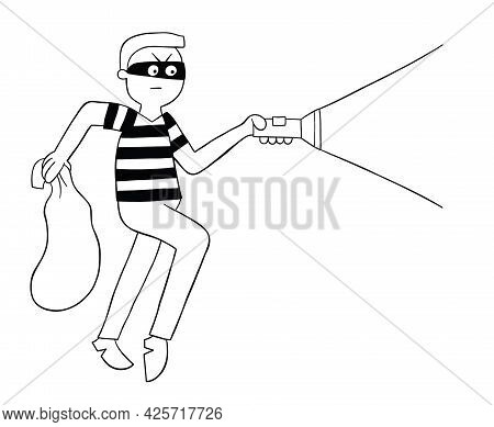 Cartoon Thief Walks With Sack And Flashlight, Vector Illustration. Black Outlined And White Colored.