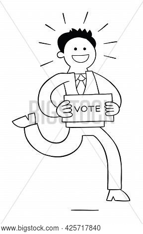 Cartoon Politician Running With A Paper That Says Vote, Vector Illustration. Black Outlined And Whit