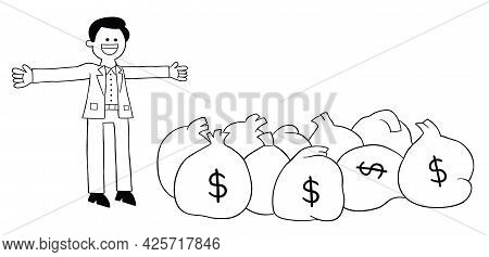 Cartoon Young Man Is Very Rich And Has Lots Of Dollars, Vector Illustration. Black Outlined And Whit