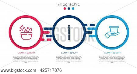 Set Line Witch Cauldron, Magic Wand And Magician Hat In Hand. Business Infographic Template. Vector