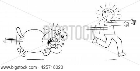 Cartoon Angry Dog Chases Man And Man Runs Away, Vector Illustration. Black Outlined And White Colore