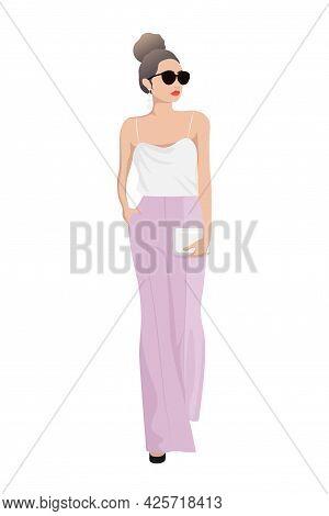 Women On High Heels Dressed In Stylish Trendy Clothes - Female Fashion Illustration