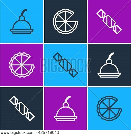 Set Line Cherry Cheesecake, Candy And Homemade Pie Icon. Vector