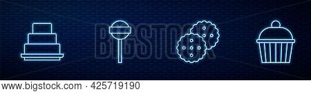 Set Line Cookie Or Biscuit, Cake, Lollipop And . Glowing Neon Icon On Brick Wall. Vector