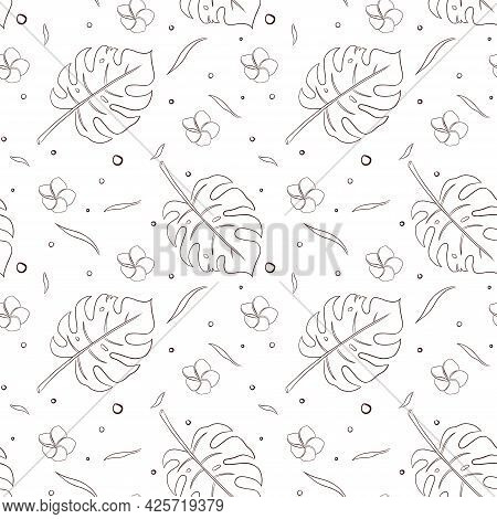 Rainforest Plants Seamless Pattern Line Art. Hand Drawn Tropical Floral Ornament For Background, Bac