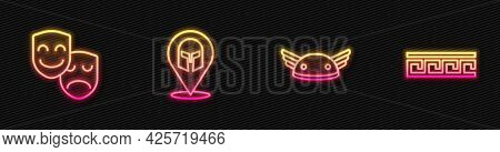 Set Line Helmet With Wings, Comedy And Tragedy Masks, Greek Helmet And Ancient Pattern. Glowing Neon