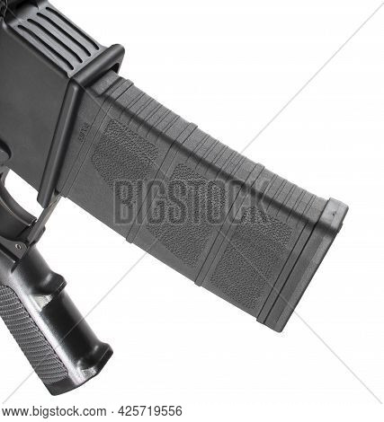 Assault Rifle High Capacity Magazine Inserted In The Gun Isolated On White