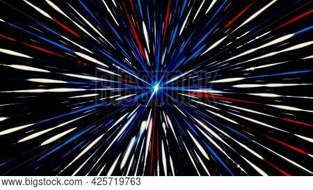 Travelling Through Black Space, Colorful Starfield, Seamless Loop. Animation. Outer Space Pattern Wi