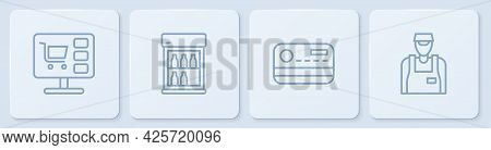Set Line Shopping Cart On Computer, Credit Card, Commercial Refrigerator And Seller. White Square Bu