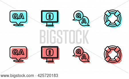Set Line Question And Answer, , Monitor With Information And Lifebuoy Icon. Vector