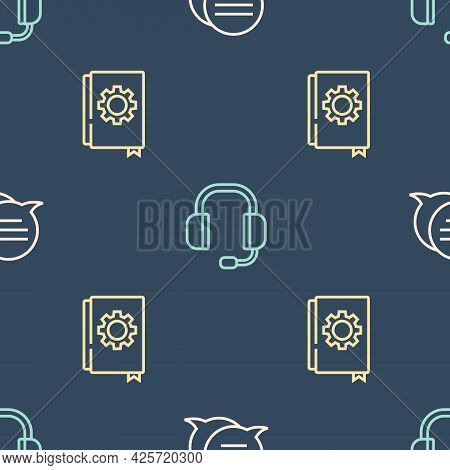 Set Line Speech Bubble Chat, User Manual And Headphones On Seamless Pattern. Vector