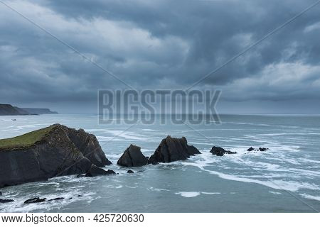 Stunning Fine Art Landscape Image Of View From Hartland Quay In Devon England Durinbg Moody Spring S