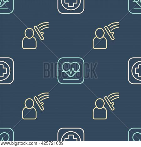 Set Line Hospital Signboard, Police Beat Human And Heart Rate On Seamless Pattern. Vector