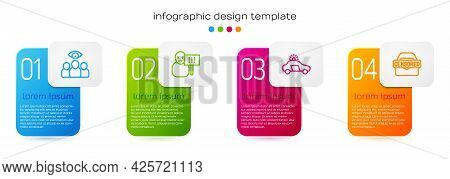Set Line Spy, Agent, Protest, Police Car And Flasher And Censored Stamp. Business Infographic Templa