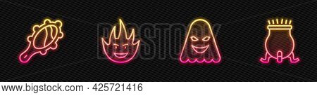 Set Line Ghost, Magic Hand Mirror, Fire Flame And Witch Cauldron. Glowing Neon Icon. Vector