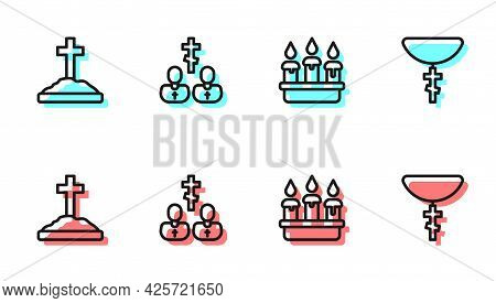 Set Line Burning Candle In Candlestick, Grave With Cross, Priest And Christian On Chain Icon. Vector