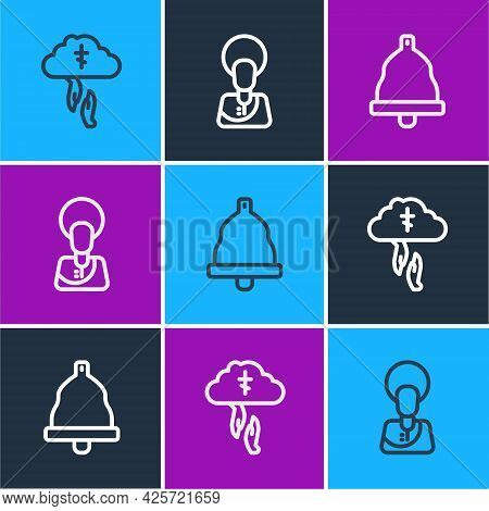 Set Line Gods Helping Hand, Church Bell And Jesus Christ Icon. Vector