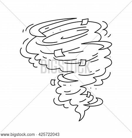Tornado Line Icon. Natural Disaster Symbol. Vector Image Of An Isolate On White