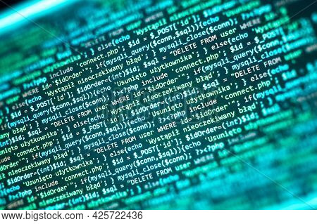 Php Code On Computer Screen. Software Development Abstract Background. Green Color. Search Job Or Ab