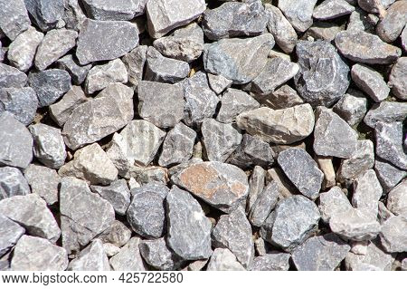 Gravel Road Stone Pattern. Small Rock Or Pebble Textured. Top View. Gravel Surface Background